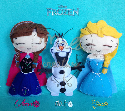 set 3 calamite FROZEN Anna, Elsa & Olaf
