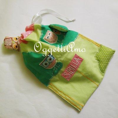 Sacca scuola gufi e civette: sacche in cotone ricamate a mano per il nido, la materna o il tempo libero!