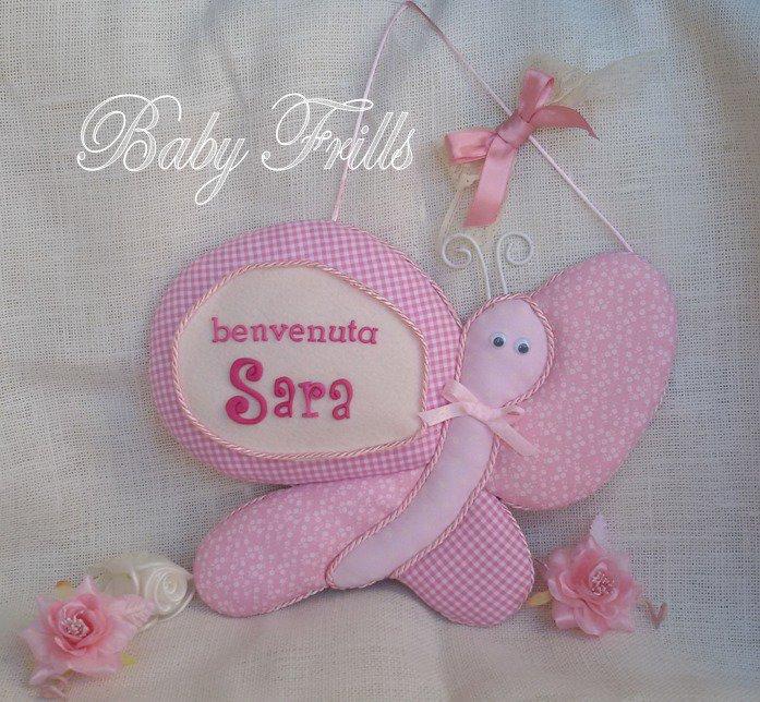 """Fiocco di nascita """"Farfallina rosa"""""""