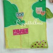 Sacca in stoffa ricamata a mano: gufi e civette per accompagnare a scuola la vostra bambina!