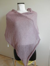 Poncho rosa antico di mohair,leggerissimo,accessori donna,maglieria