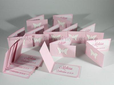 Set di 15 biglietti bigliettini con farfalla per confetti bomboniere battesimo comunione