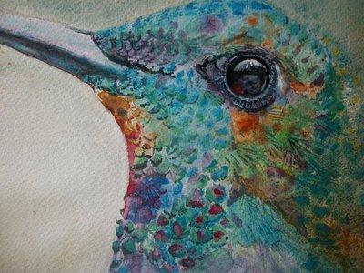 Uccello Colibrì ad acquerello, dipinto originale / bird watercolor (hummingbird)