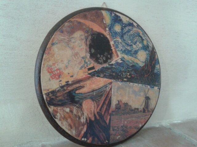 Quadro in legno raffigurante 4 opere d'arte realizzato con il trasferimento d'immagine