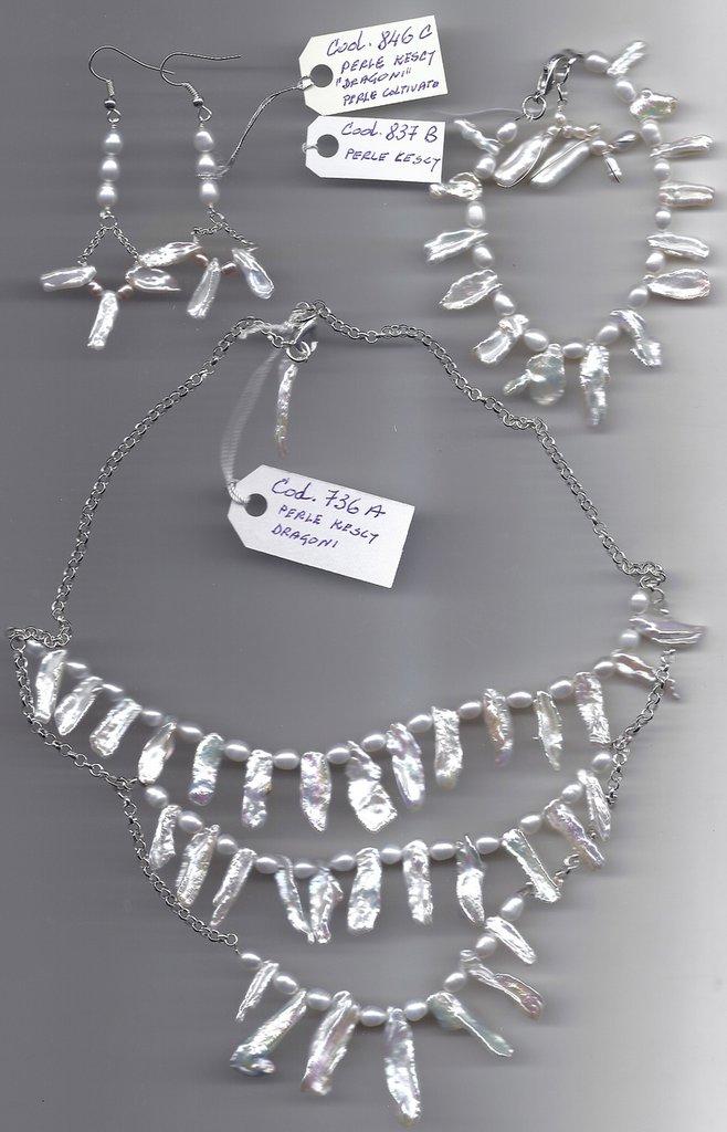Completo collana, bracciale ed orecchini in perle Kescy e perle coltivate.