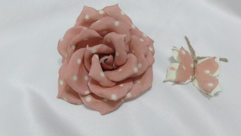 Rosa shabby color rosa a pois avorio - Forme Tessili 3D