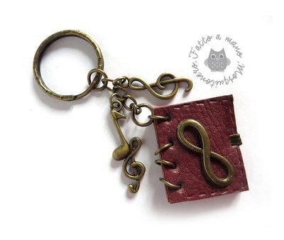 Portachiavi infinito con nota musicale chiave di violino spartito in metallo colore bronzo