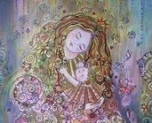 Ritratto stilizzato Madre con bimba, disegno originale a matite e penne / Stylized portrait Mother with baby, original design
