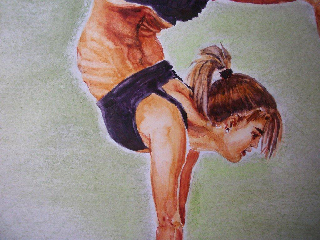 Ginnasta disegno originale ad acquerello matite e gesso, disegno artistico / Gymnast design original painting watercolor pencils and wax