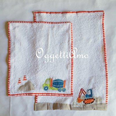 Set di 2 asciugamani dal coordinato veicoli: asciugamano in morbida spugna per il tuo bambino