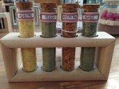 Sali aromatizzati, con contenitore in vetro e supporto in legno, idea regalo, fatto a mano