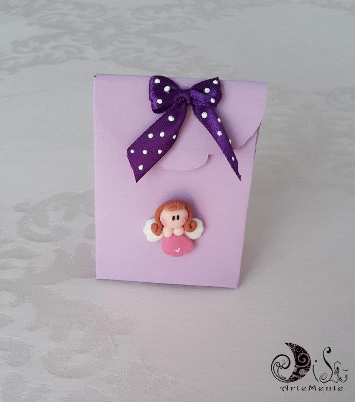 Bomboniere comunione portaconfetti scatolina lilla e angioletto con fiocco viola pois