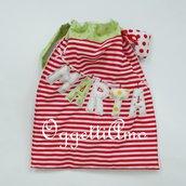 Sacca a righe rosse e bianche con nome 'Marta': per il tempo libero, i pannolini o la scuola!