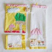 Coordinato scuola 'Gufi e civette' giallo: un set asilo composto da bavaglio, asciugamano e sacca !