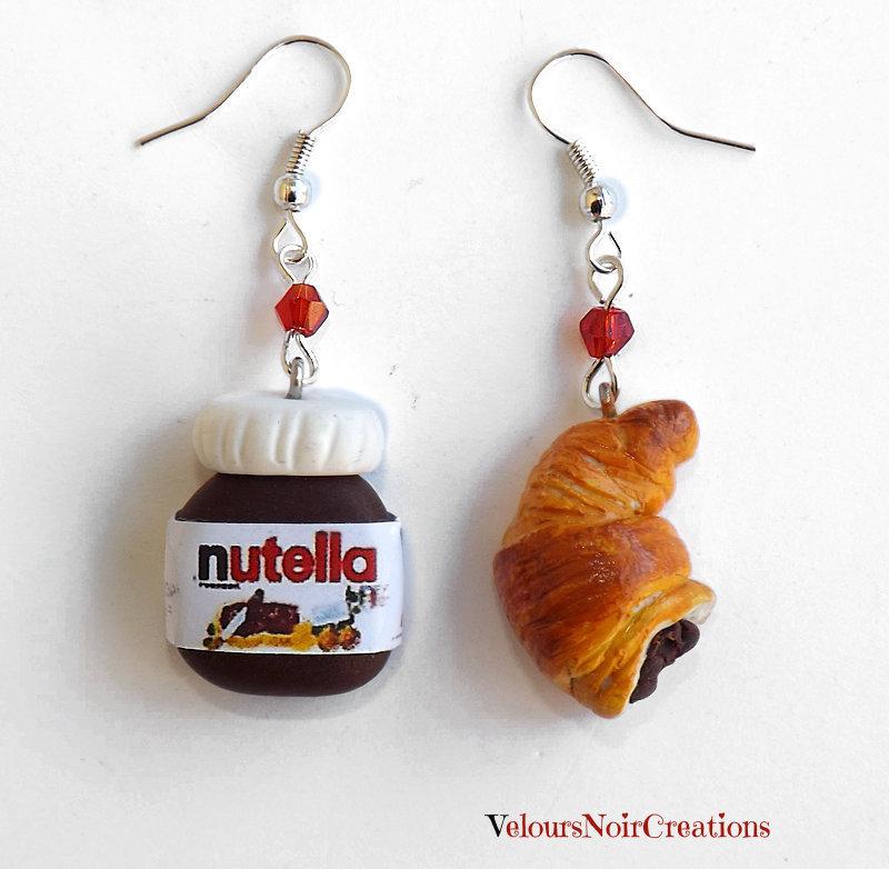 Orecchini nutella e croissant in fimo