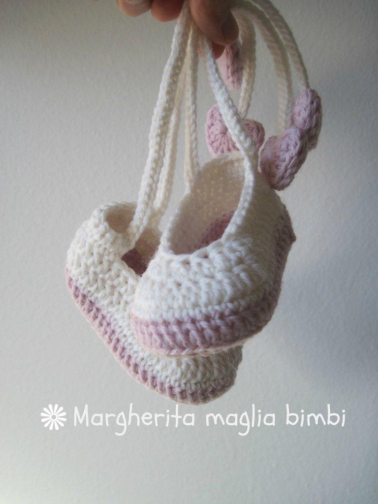 Scarpine ballerine bianche e rosa con fiocco e cuoricini - in lana e alpaca anallergica