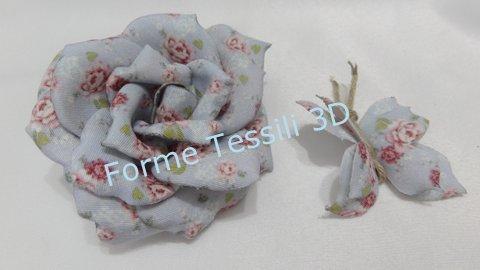 Rosa vintage azzurra - Forme Tessili 3D
