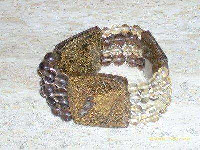 Bracciale bracciali bronzite e quarzo citrino e fumè
