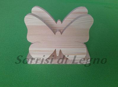 Portatovaglioli in legno a forma di farfalla intera in pino