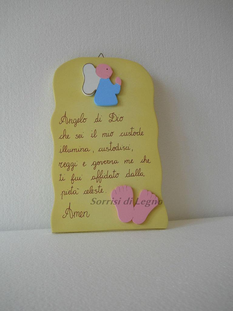 """Pala con preghiera """"Angelo di Dio"""" in legno verniciato piedini rosa"""