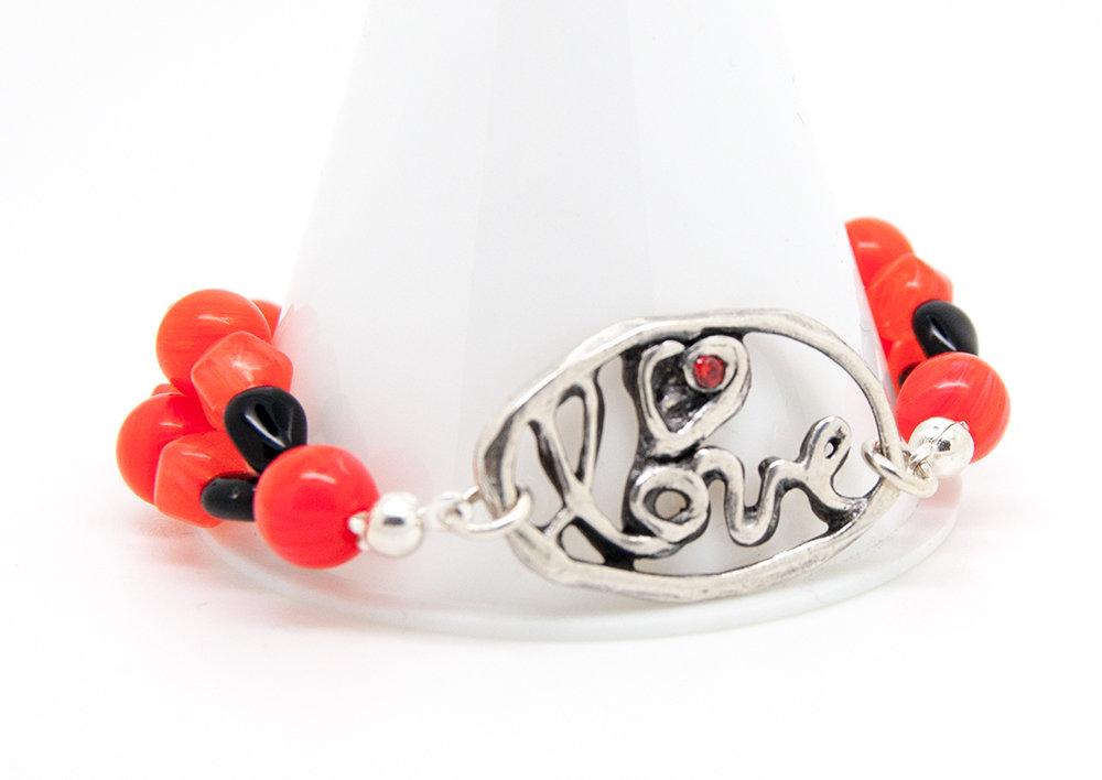 Bracciale love in filigrana di puro argento con CZ rosso e perline in vetro rosso corallo