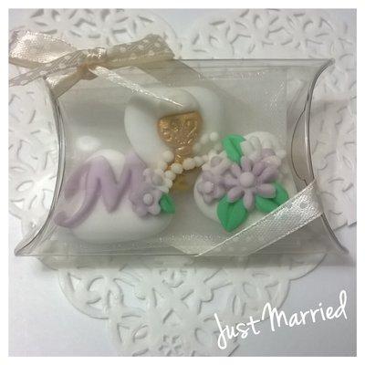 Confettata prima comunione, confetti decorati, decori in glicine