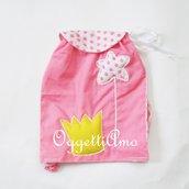 Zaino del coordinato 'Principesse' in versione scettro e corona': uno zainetto colorato di rosa per la principessa di casa!