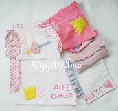 Coordinato scuola 'Principesse': gale, corone e scettri rosa per lo zainetto, i porta/bavagli e l'asciugamano della tua bambina