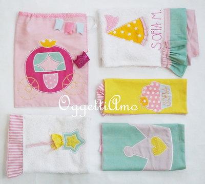 Coordinato scuola 'Principesse': carrozza, scettri, gale e corone per asciugamani, tovagliette e sacche ricamate!