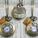 Collana orologio ALICE IN WONDERLAND Bianconiglio Cappellaio Matto Stregatto Regina di Cuori Chiave Drink Me