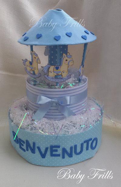"Torta di pannolini ""Giostrina celeste"""
