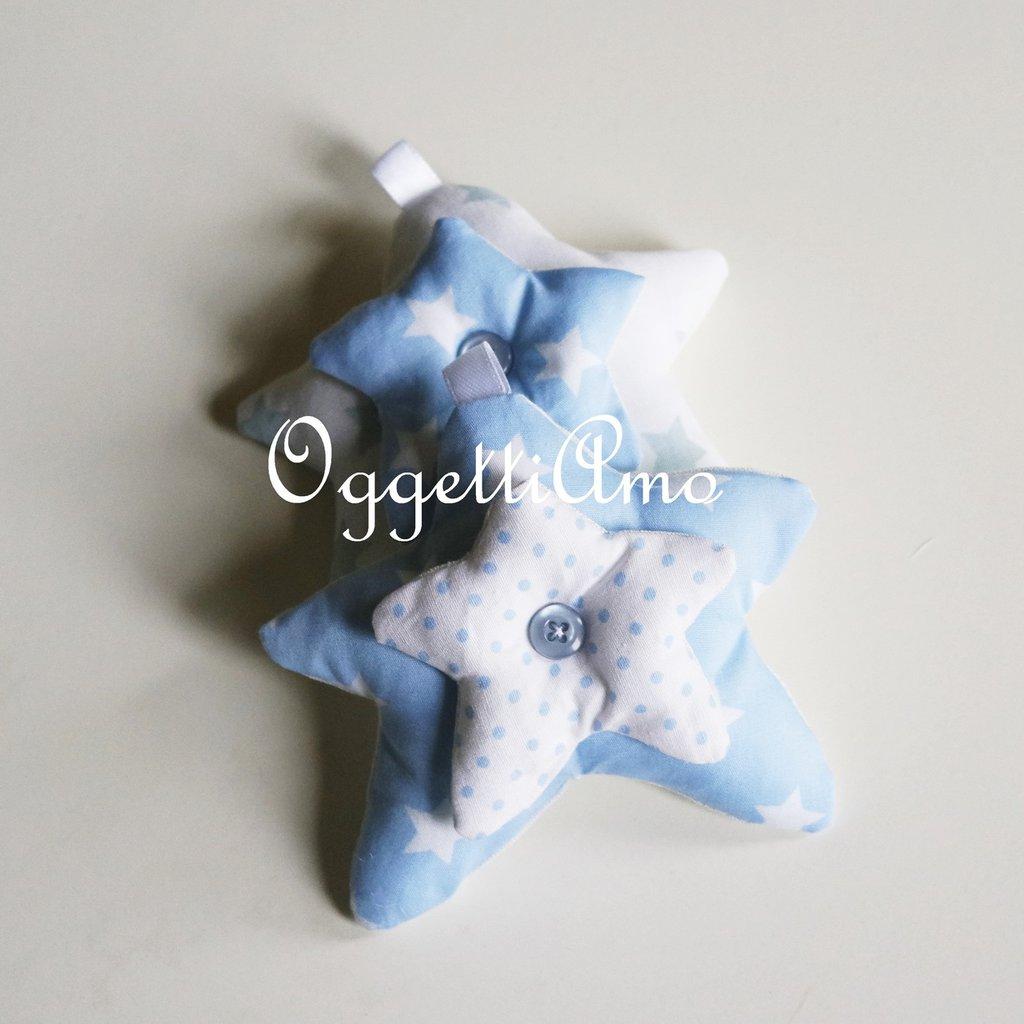 Stella in stoffa imbottita: due stelle sovrapposte come bomboniera, segnaposto, portachiavi o calamita
