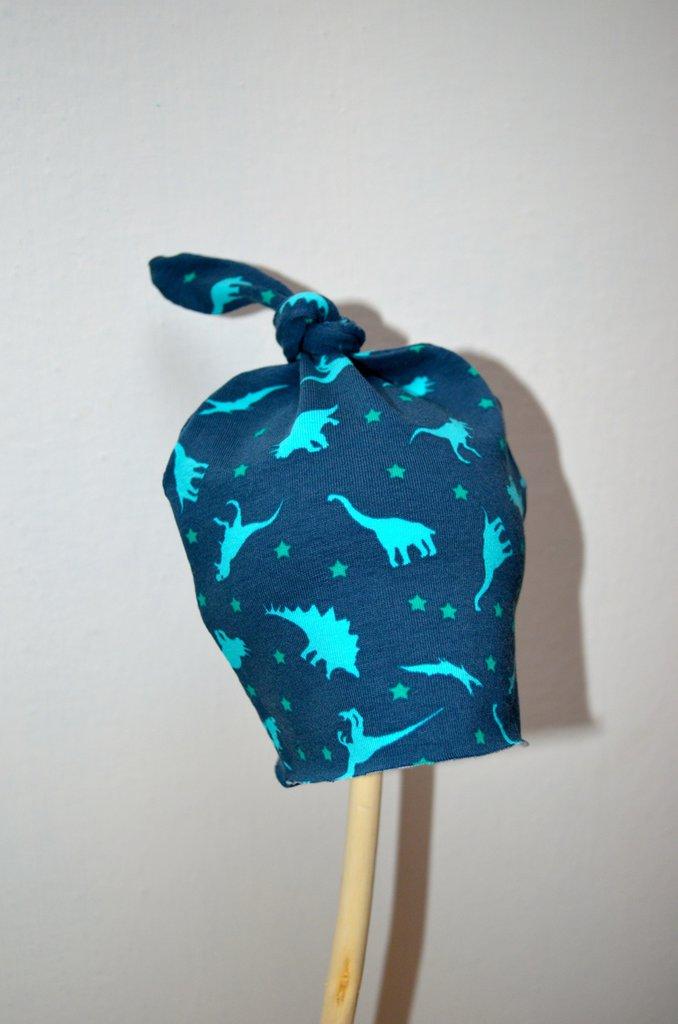 Berrettino nodo in jersey di cotono con dinosauri
