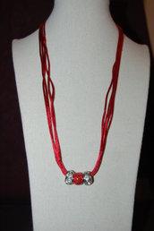 collana rossa con perle foro largo