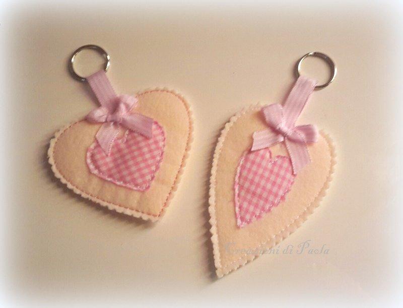 Portachiavi a forma di cuore collezione romantica rosa