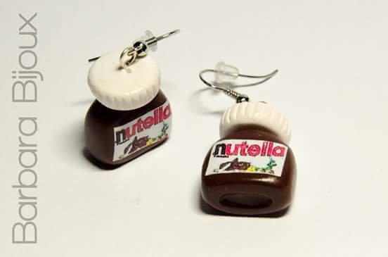 Orecchini a forma di barattolo di cioccolata realizzati a mano in pasta polimerica ( fimo )