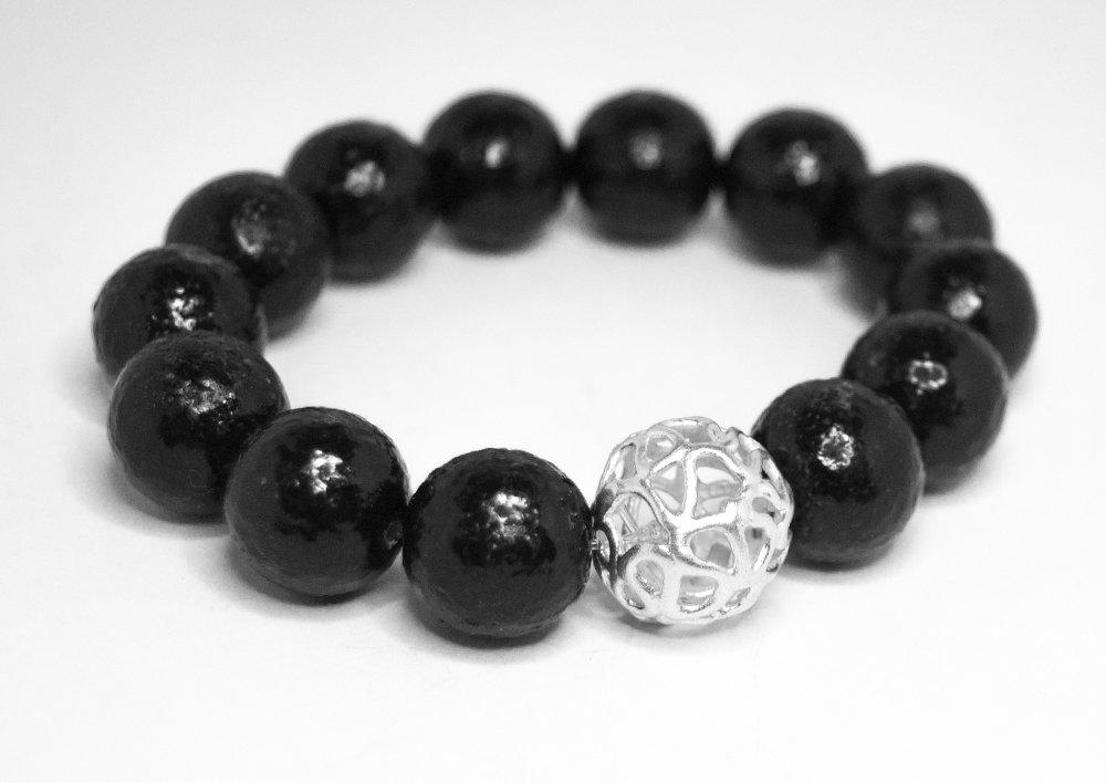 Palla in filigrana di puro argento con bracciale di perle in vetro