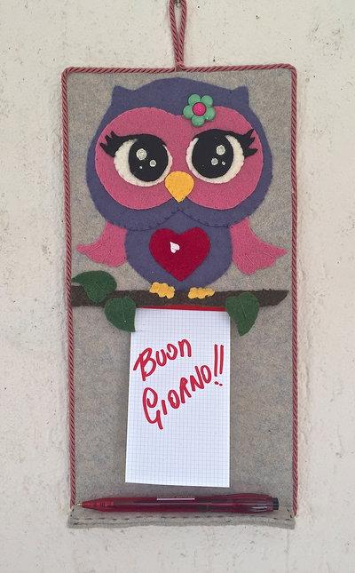 Pannello in feltro Gufo porta bloc notes e porta biro - avio/rosa antico