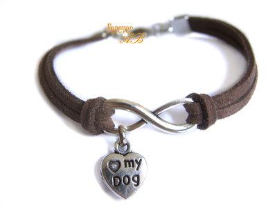 Bracciale infinito uomo donna marrone (cuore) my dog cane amore regalo infinity san valentino pelle