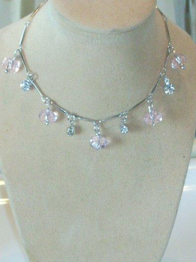 Cavigliera colori pink e ametist cristallo gioiello donna