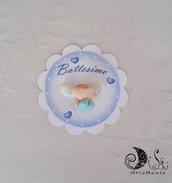 Card Art segnaposto battesimo etichette tonde bianche con angioletto