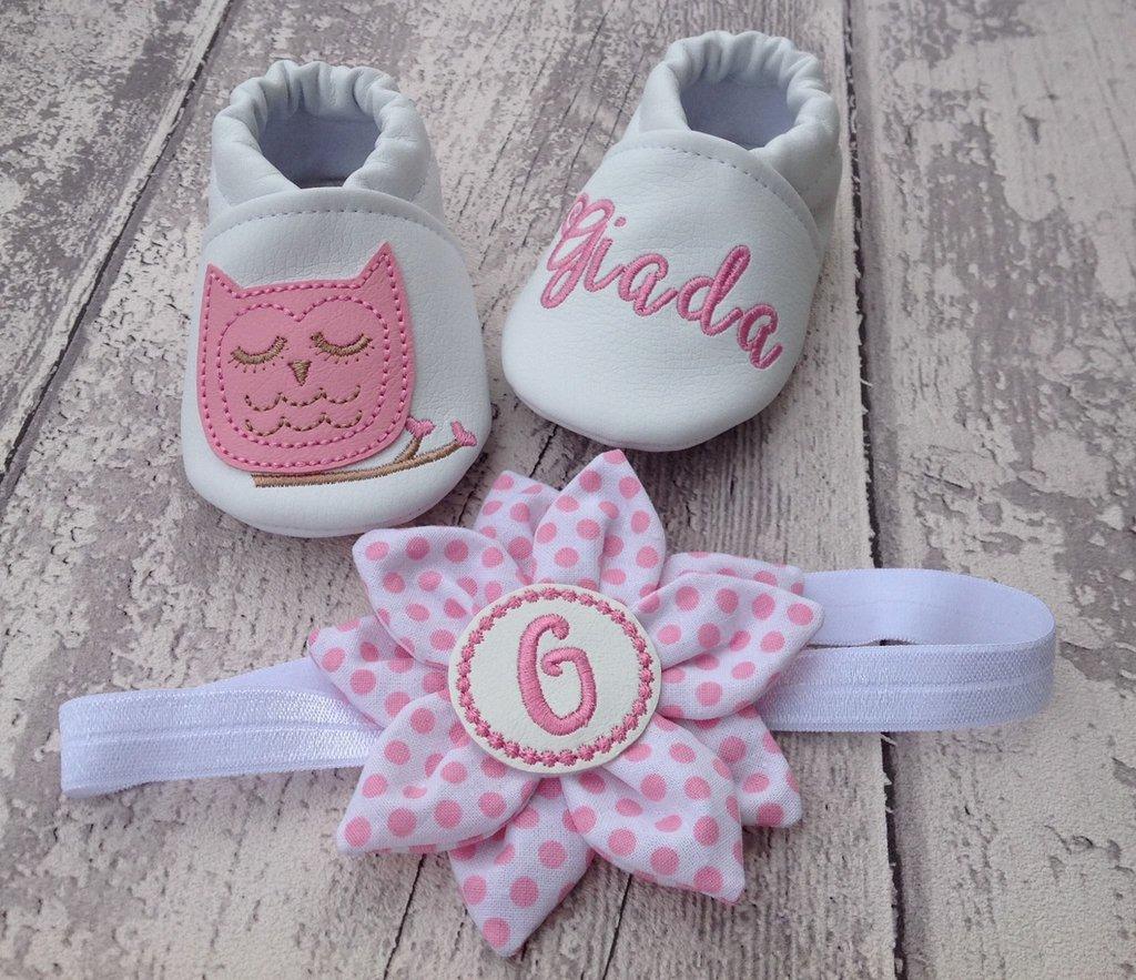 Set scarpine Gufetto e fascia Fiore per capelli- Personalizzati - Bimba 3-6 mesi