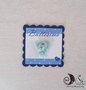 Card Art battesimo segnaposto etichetta blu navy quadrata Animaletti