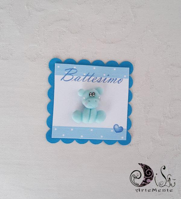 Card Art battesimo segnaposto etichetta turchese quadrata Animaletti