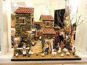 Presepe in sughero e legno con statuine in terracotta di 8-10 cm, luci e fontana funzionante !!!