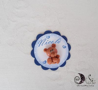 Card Art Battesimo segnaposto orsetto etichetta tonda blu navy