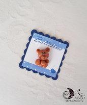 Card Art battesimo segnposto orsetti etichetta quadrata blu navy
