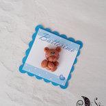 Card Art battesimo segnaposto orsetti etichette quadrate turchese