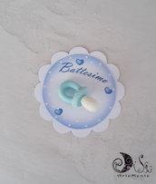 Card Art battesimo segnaposto ciucciotti, etichette tonde bianche