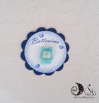 Card Art battesimo segnaposto tutina etichette tonde smerlate blu navy